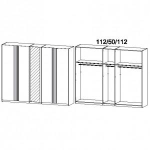 5M1F 275 cm - Drehtürenschrank mit 1 Spiegeltür