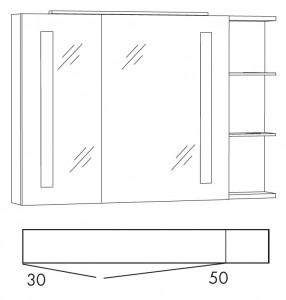 Spiegelschrank 100 cm SFLSR10R