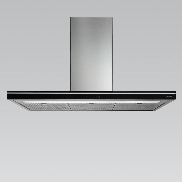 Falmec Luce 90 W, Design, Wandhaube, 90 cm, Edelstahl / Glas schwarz