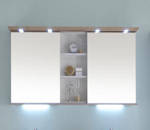 9030-SPS 04 Spiegelschrank mit offenem Regal mittig