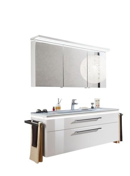 Puris Cool Line 120 cm - Kombination 4 - Spiegelschrank inkl. Gesimsboden und Beleuchtung