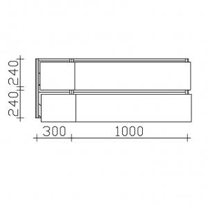 Unterschrank - kleine Auszüge links / große Auszüge rechts
