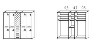 1055 Funktionsschrank / 5-türig / 1 Spiegeltüre mittig / Außentüren Hochglanz creme / Breite 235 cm / Höhe 214 cm / Tiefe 58 cm