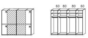 SW05 Schwebetürenschrank - Innenfelder Spiegel - 2-türig / Breite 280 cm / Höhe 223 cm / Tiefe 69 cm