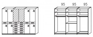 1056 Funktionsschrank / 6-türig / 2 Spiegeltüren mittig / Außentüren Hochglanz creme / Breite 282 cm / Höhe 214 cm / Tiefe 58 cm