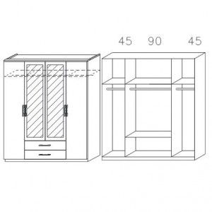 0867 mit Spiegeltüren und Schubkästen, Breite 181 cm - 4-türig