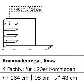 0659 Kommodenregal links - 4 Fachböden - für 120er Kommoden / Breite 164 cm / Höhe 98 cm / Tiefe 43 cm