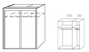 Breite 151 cm-2-türig / Holzdekor/Hochglanz