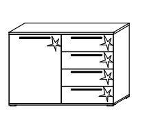 B465 Kombikommode, links / 1 Türe links - 4 Schubkästen rechts