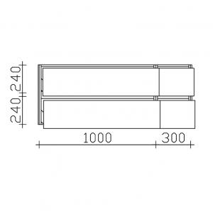 Unterschrank - kleine Auszüge rechts / große Auszüge links