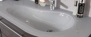Glaswaschtisch Quarzitgrau -  Ablagefläche links / Becken rechts
