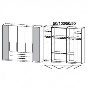 250 cm Faltt.-Komibschrank - ohne Spiegel