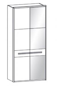 297 - 1 Holztür links / 1 bronzierte Spiegeltür rechts