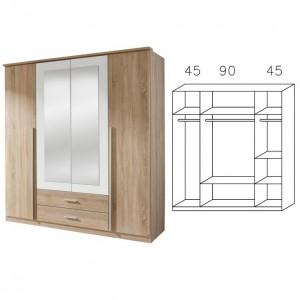 0922 Kombischrank, Breite 181 cm, 4-türig, 2 Schubladen, Spiegel