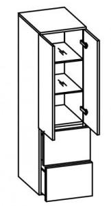 979.013556 Midischrank / 2 Drehtüren / 2 große Schubkästen / 2 Einlegeböden / inklusive Türdämpfer