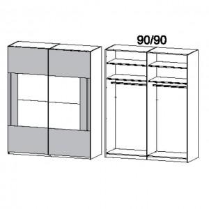 181 cm Schwebetürenschrank - ohne Spiegel