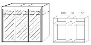 Breite 250 cm-3-türig / Spiegelfront