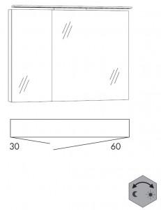 Spiegelschrank 90 cm SFLZ36 (Lichtfarbe ca. 3000 - 6500 Kelvin regelbar)