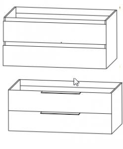 mit WUA331233 / WUA43122G - Waschtischunterschrank mit oder ohne Griffleisten / für Squared Einzelwaschtisch in 122 cm
