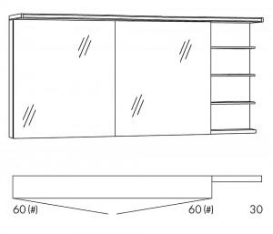 Spiegelschrank 150 cm SOBS66R / SOBS66RLS
