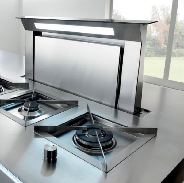 Falmec Downdraft 120, Design+, 120 cm, Edelstahl / Blende schwarz
