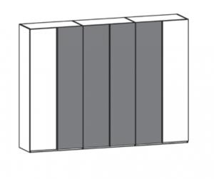 6-türiger Kleiderschrank mit 2 Holztüren außen und 4 Glastüren mittig