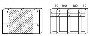 SW06 Schwebetürenschrank - Innenfelder Spiegel - 2-türig / Breite 319 cm / Höhe 223 cm / Tiefe 69 cm
