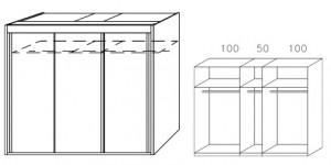 Breite 250 cm-3-türig / Holzdekor/Hochglanz