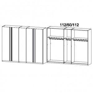 4M1F 275 cm - Drehtürenschrank ohne Spiegel