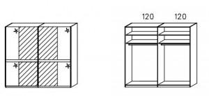 SW02 Schwebetürenschrank - Innenfelder Spiegel - 2-türig / Breite 239 cm / Höhe 223 cm / Tiefe 69 cm