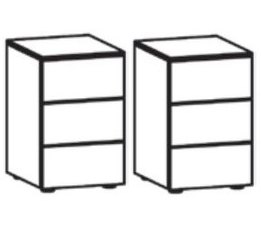 2 x 565027 Nachtkonsole, Lack weiß, 3 Schubkästen