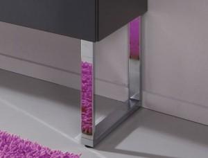 mit Fuß-Set (2er Set) - 2x PZ 11221 für Waschtischunterschrank. H: 34,2 cm / B: 4 cm / T: 46 cm. Hinweis: Schränke müssen aufgrund der Kippsicherung zusätzlich wandhängend montiert werden.