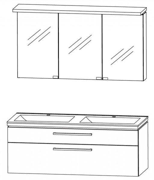 Puris Cool Line 120 cm - Kombination 3 - Spiegelschrank mit Gesimsboden, Doppelwaschtisch