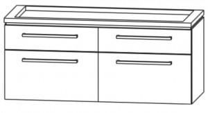 Waschtischunterschrank 120 cm - vier Auszüge