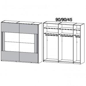 226 cm Schwebetürenschrank - ohne Spiegel