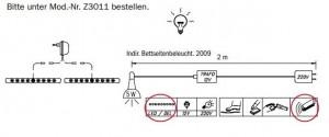 Z3011-2009 indirekte Bettseitenbeleuchtung LED / Breite 2 cm / Höhe 3 cm / Tiefe 28 cm