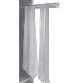 565909 Kravattenhalter ausziehbar für 32 Stück, Haken Kunststoff transparent, Teilauszug zur Montage an Kleiderschrankseite