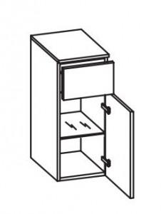 378.013040 Unterschrank / 1 Drehtüre / 1 Schubkasten / 1 Glaseinlegeboden / inklusive Türdämpfer