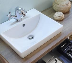 Keramik-Aufsatzbecken, Weiß mit integriertem Überlauf