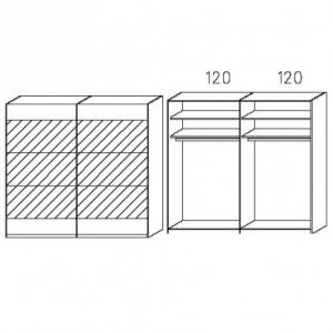 SW02 Schwebetürenschrank - Absetzung in Spiegel - Breite: 239 cm