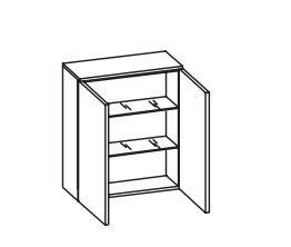 312.016030 Wandschrank / 2 Drehtüren / 2 Einlegeböden / inklusive Türdämpfer / Breite 60 cm / Höhe 70 cm / Tiefe 20 cm