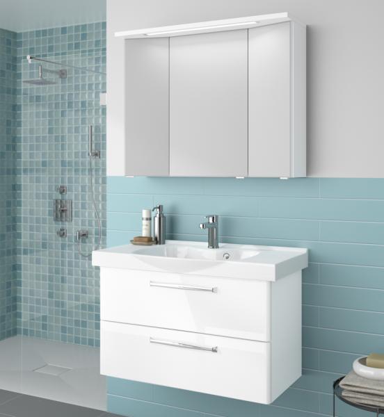 Aquarell badm belset wei 90 cm breit waschtisch - Spiegelschrank 90 cm breit ...