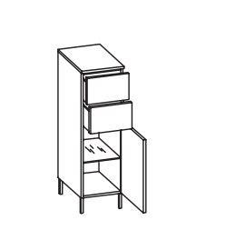312.013053 Highboard / 1 Drehtüre / 2 Schubkästen / 1 Einlegeboden / Abdeckplatte / 4 Füße Chrom Glanz