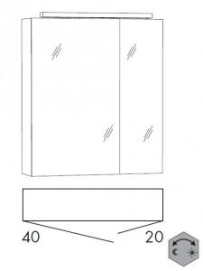 Spiegelschrank 60 cm SSFGZ42 (Lichtfarbe ca. 3000 - 6500 Kelvin regelbar)