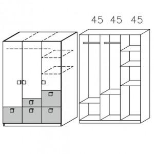 3728 Drehtürenschrank - Breite: 136 cm
