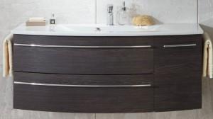 Waschtischunterschrank mit einer Tür (rechts) und zwei Auszügen