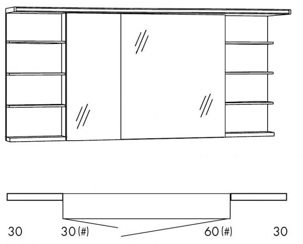 Marlin Bad 3160 - Motion Spiegelschrank 150 cm SOBSR36R / SOBSR36RLS