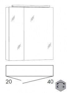 Spiegelschrank 60 cm SSFGZ24 (Lichtfarbe ca. 3000 - 6500 Kelvin regelbar)