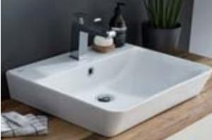 Waschtisch Keramik Connect Air - Breite 55 cm / inkl.Permanentablauf / inkl. Hahnlochbohrung - Hinterkante nicht glasiert