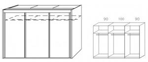 Breite 280 cm-3-türig / Holzdekor/Hochglanz